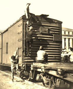 Hobo Climbing on a Box Car